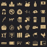 Milk cow icons set. Simple style of 36 milk cow vector icons for web for any design