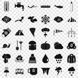 Cloud icons set. Simple style of 36 cloud vector icons for web for any design