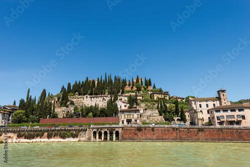 Leinwanddruck Bild Hill of San Pietro and Roman Theatre - Verona Italy