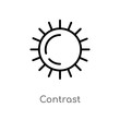 outline contrast vector icon. isolated black simple line element illustration from photography concept. editable vector stroke contrast icon on white background