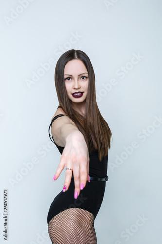 fototapeta na ścianę Young and beautiful girl posing in pantyhose mesh. Dancer strip dance.