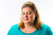 canvas print picture - Close-up of fat annoyed woman