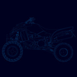 Contour of the quad of blue lines on a dark background. Side view. Vector illustration