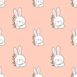 Draw seamless pattern head of rabbit