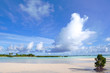 Quadro White sand beach, clear water, Kiribati, Micronesia in the central Pacific Ocean