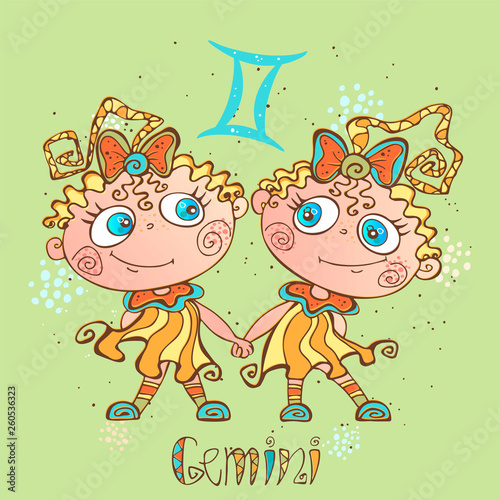Children's horoscope icon. Zodiac for kids. Gemini sign . Vector. Astrological symbol as cartoon character © Olga