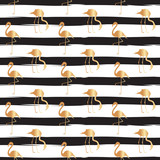Golden Flamingo Seamless Repeat Pattern with Black Lines. Vector.