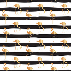 Golden Flamingo Seamless Repeat Pattern with Black Lines. Vector. © Olga