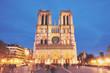 Notre-Dame de Paris front view at night - 260541540