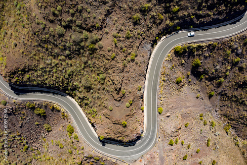 Aerial photo of summer road and free space for your decoration.