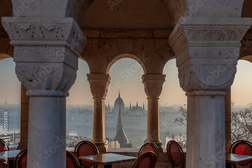 Budapest, Parliament view through Fishermans Bastion, Hungary