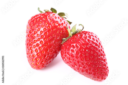 Fresh strawberries isolated on white background - 260562993
