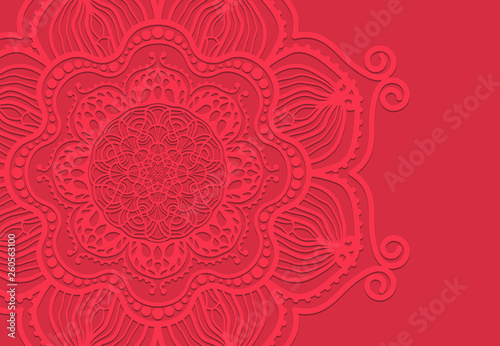Abstract mandala graphic design and watercolor digital art painting for ancient geometric concept background - 260563100