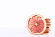 Dried grapefruits on white background