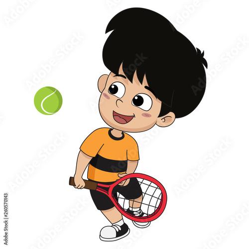 boy playing tennis. - 260570143