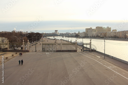 Entrance from embankment to Gorky Park Moscow, top view from Crimean bridge in spring day
