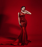 Fashion Model in Red Beauty Dress, Sexy Woman posing evening Gown