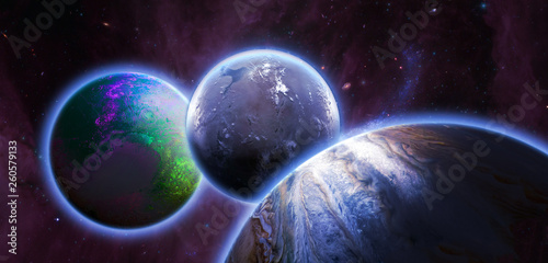 several planets in outer space, , solar system elements of this image furnished by nasa b © Mihail