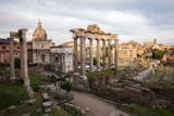 The view of the Roman forum, city square in ancient Rome, ancient architecture and cityscape of old Rome, Italy