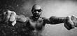 Leinwanddruck Bild - brutal portrait of a man fists force, unusual daring portrait aggressive man, beard, fists, hands, concept masculine strength