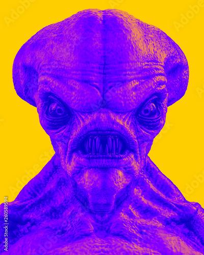 Leinwandbild Motiv hammerhead alien exploring arround duetone