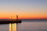 Long exposure image of the Nieuwpoort lighthouse at sunset