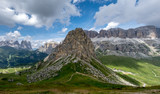 Panoramic view of the Italian Dolomites as seen from mountain Refuge Sass Becè in Italy