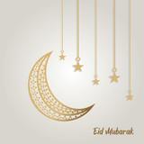 eid mubarak islamic background moon and stars style