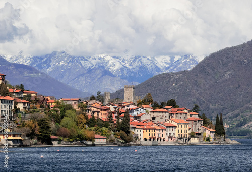 The most beautiful villages of Como lake, Rezzonico, a picturesque fishing village with a medieval castle. Italy