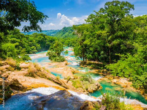 Panoramic view of Agua Azul waterfalls in the lush rainforest of Chiapas, Mexico - 260598382