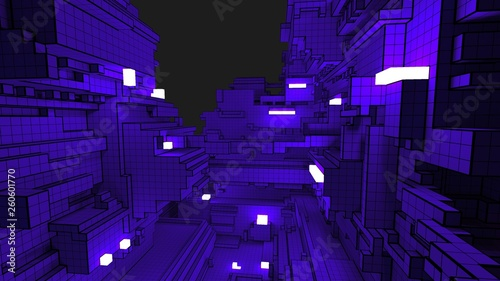 3D illustration of a complex geometric structure with luminous cubes. Creative geometrical concept. Abstract voxel background in a style of cyberpunk. - 260601770