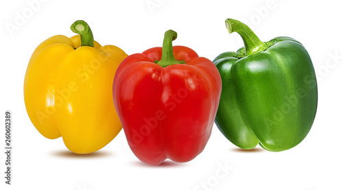 Red, green and yellow peppers  isolated.  With clipping path. - 260602389