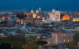 Rome panorama at sunset from the Gianicolo Hill Terrace.