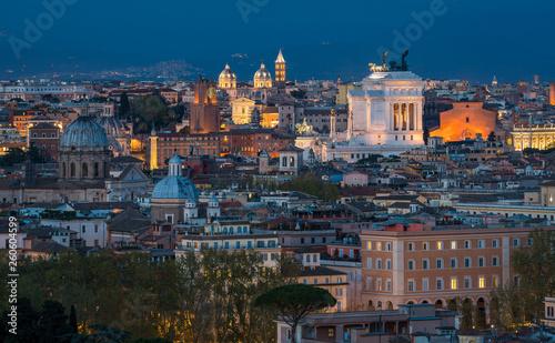 fototapeta na ścianę Rome panorama at sunset from the Gianicolo Hill Terrace.