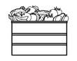 fruit and vegetables crates black and white - 260605759