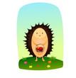 hedgehog with a basket of apples - 260606770
