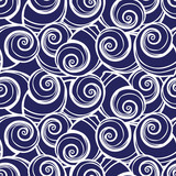 Vector blue spiral seashells repeat pattern. Suitable for gift wrap, textile and wallpaper. - 260606776