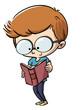 Leinwanddruck Bild - niño leyendo un libro con gafas