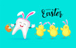 Cute cartoon rabbit tooth character design with Easter eggs and  little chicks. Happy Easter holiday concept. Vector illustration isolated on blue background. - 260634700