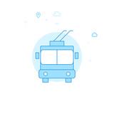 Trolleybus Flat Vector Illustration, Icon. Light Blue Monochrome Design. Editable Stroke