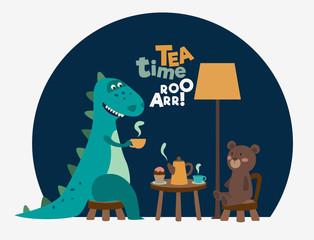 Cute dinosaur drinking tea on the table. Tea time vector concept  © cristinn