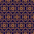 Hand drawn heart shape elements geometric vector seamless repeat pattern. Moroccan style two color pattern in gold and indigo blue. Monochromatic pattern elements on colored background. - 260666351