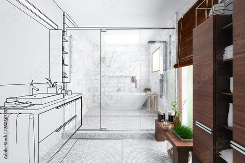 Modern Bathroom Integration (outline) - 3d visualization