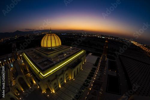 canvas print picture Arabische Moschee bei Sonnenuntergang