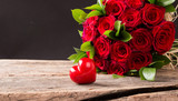 . Nature and beautiful red roses bouquet on abstract background. St. Valentine's Day