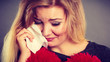 Leinwandbild Motiv Sad, depressed woman crying having depression
