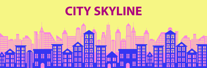 Urban Cityscape. Modern Skyline panorama flat style. Different buildings, skyscrapers, office center. Vector illustration © Renat