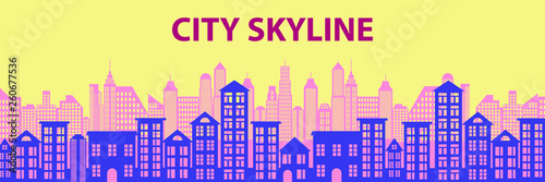 Urban Cityscape. Modern Skyline panorama flat style. Different buildings, skyscrapers, office center. Vector illustration - 260677536