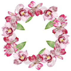 Beautiful floral circle of Alstroemeria and Orchids. Isolated