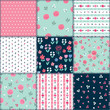 Spring patchwork background with different patterns for textile, gift wrap and scrapbook. Vector illustration. - 260687705